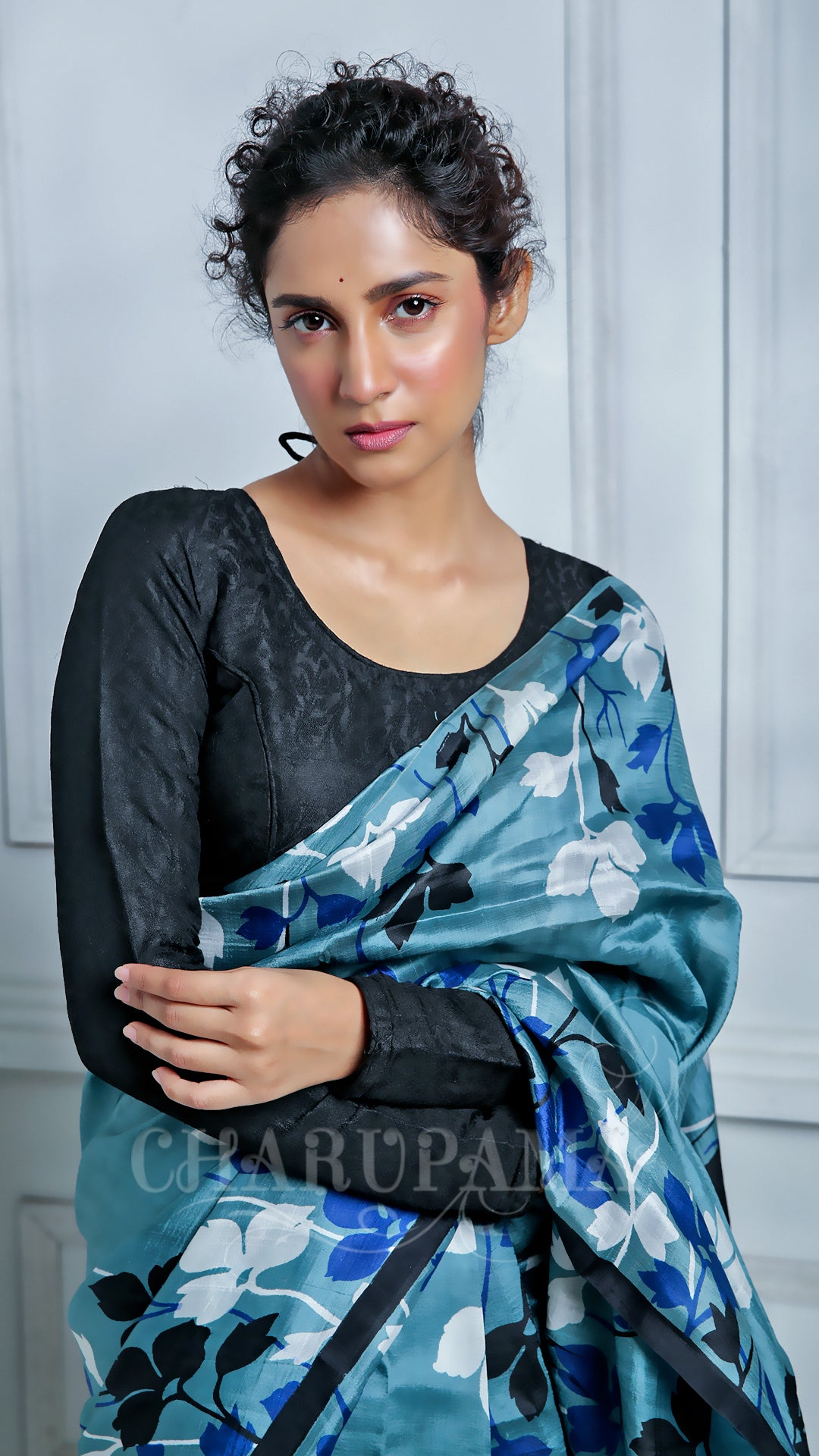 Buy Steel Grey And White Floral Printed Pure Murshidabad Silk Saree - Charupama.com