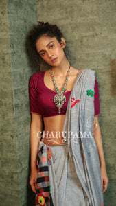 Designer, Colorful And Also Comfortable Khadi Cotton With Embroidery Including Blouse Piece With The Saree. Perfect For All Season - Charupama