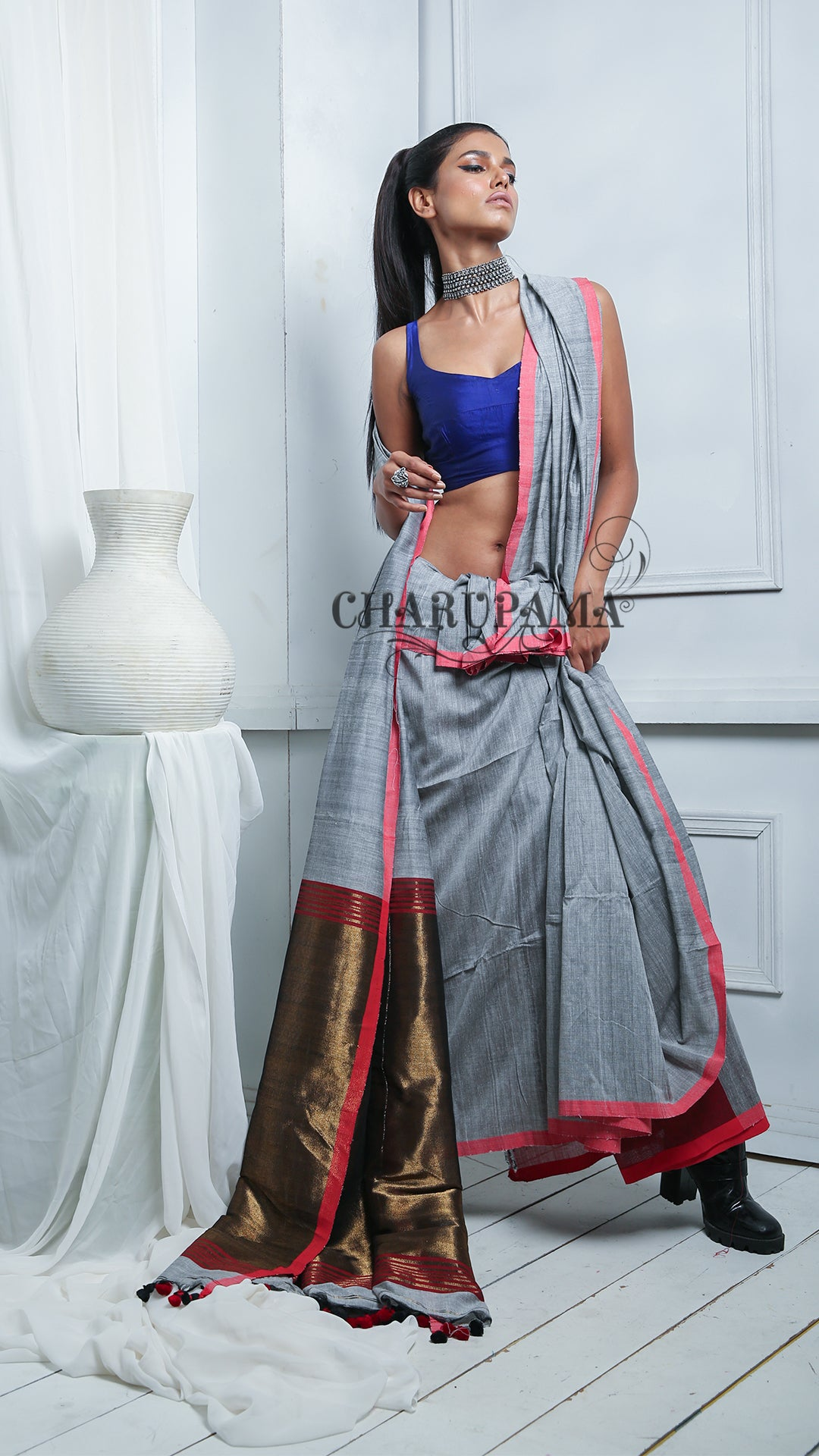 Steel Grey Cotton Saree Is Made In Handloom. And The Fabric is Cotton. Gives You Comfort With Style.