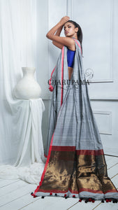 Steel Grey Cotton Saree Is Made In Handloom. And The Fabric is Cotton. Gives You Comfort With Style. - Charupama