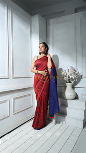 Current Red Khadi Cotton Saree With Blue Pallu