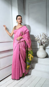 Pink Blended Silk Saree With Olive Green Weaved Pallu