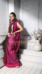 Coffee Brown And Deep Pink Khadi Cotton Saree With Pompom