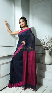 Navy Blue And Magenta Border Khadi Cotton saree With Pompom