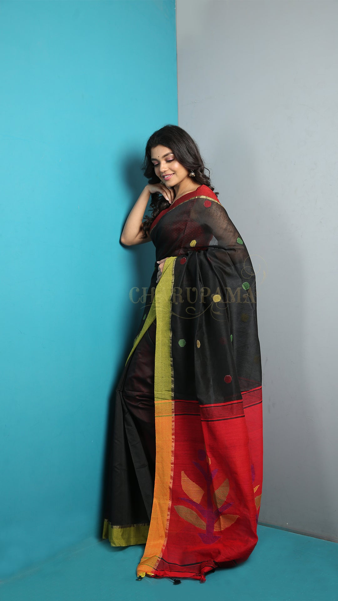 Dual Border Black Cotton Saree With Polka Dot Weave And Pallu