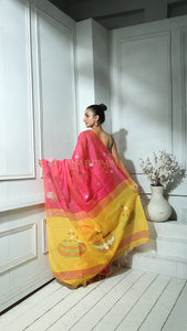 Bubblegum Pink Blended Silk Saree With Yellow Weaved Pallu