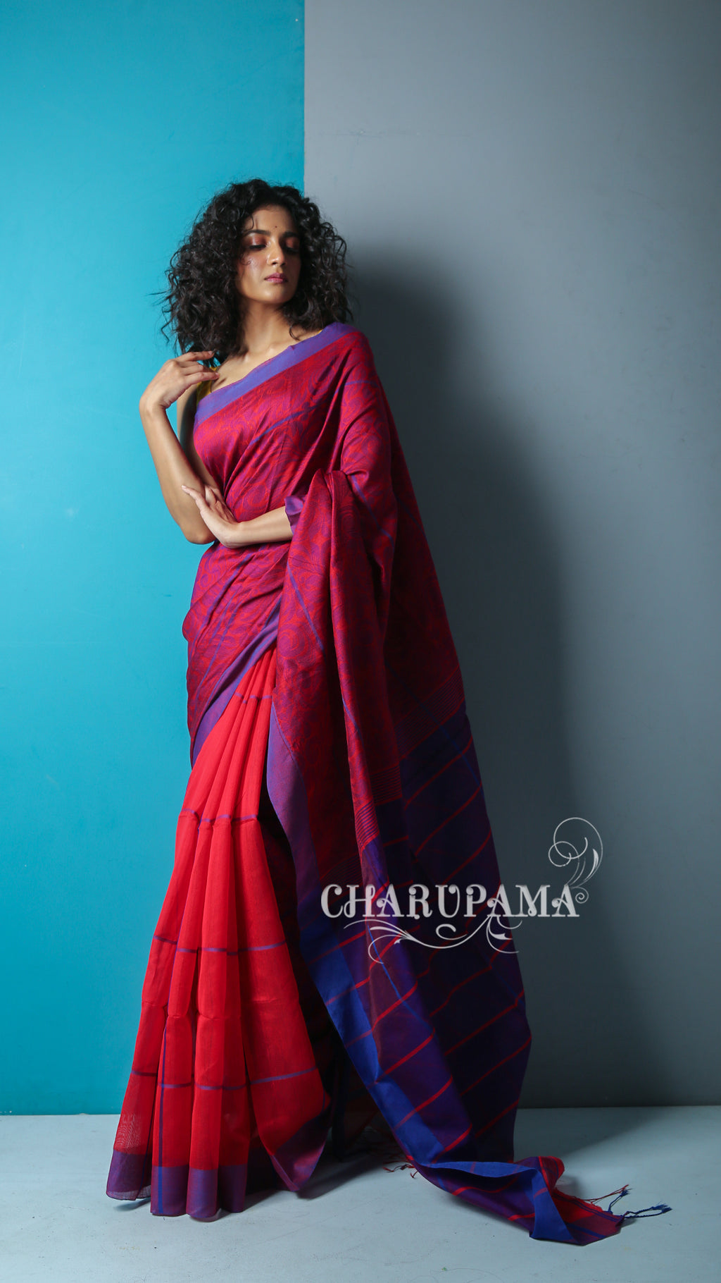 Look Beautiful In This Red Shade Handwoven Blended Silk. Is Half Plain And The Other Half Is Weaved, It Has The Comfort Factor For Daily Wear And Easy Home Care - Charupama