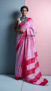 Purely Hand Woven Fine Quality Matka Silk With Shibori Print. Very Light Weight Saree Combined In Pink And White - Charupama