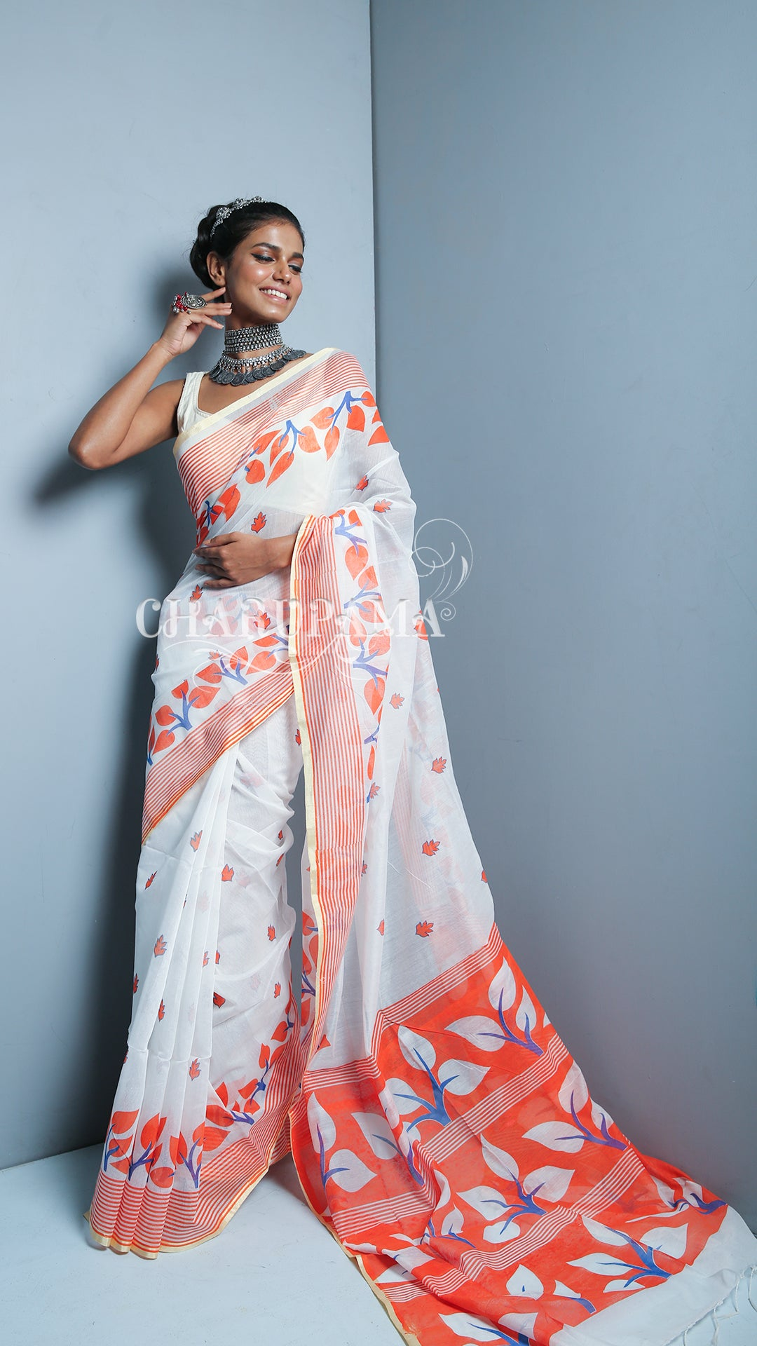 White And Orange Printed Blended Cotton Saree With Muga Border