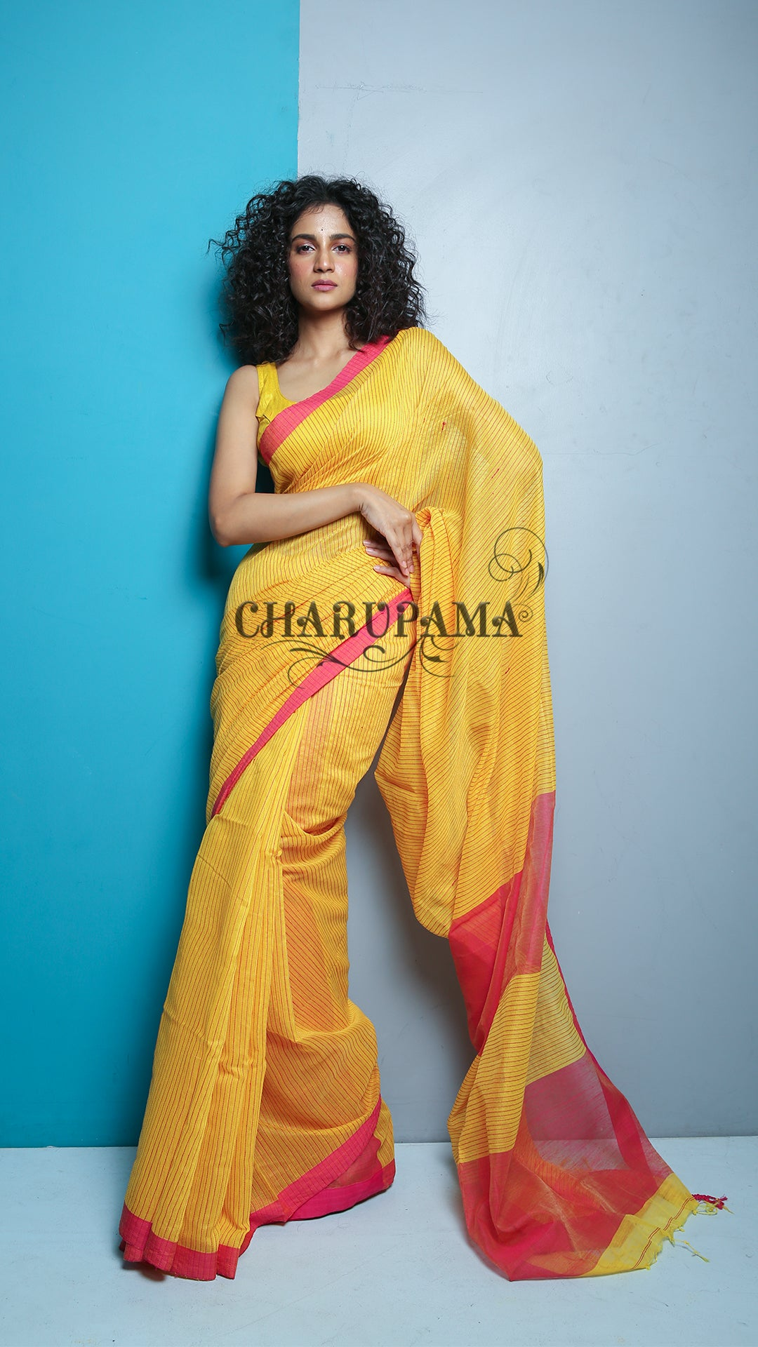 This Handloom Blended Cotton Saree Is Weaved Using Bright Yellow Thread. Very Light Weight Saree And Pallu Is Styled By Pink Thread. Daily Wear, Winter, Autumn - Charupama