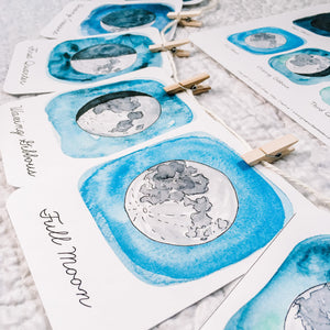 Moon Phases Flashcards | Montessori Homeschool Charlotte Mason Curriculum Printables