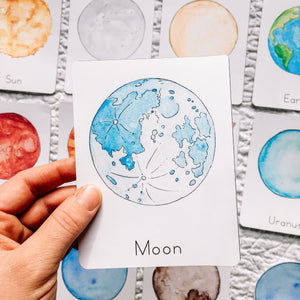 Solar System Flashcards | Montessori Homeschool Planets Space Printables