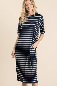 STRIPE MIDI DRESS