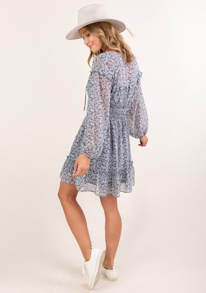 Sheer Ditsy Floral Mini Dress