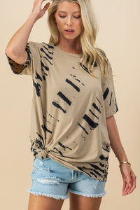 Tie dye ink distressed edge oversized shirt