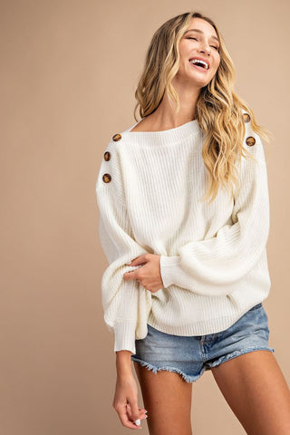 RIBBED BALLOON SLEEVE SWEATER TOP