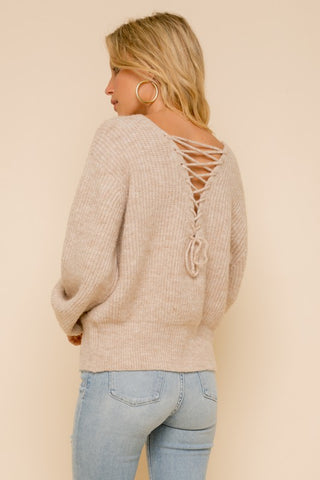 LACE UP BACK COZY SWEATER