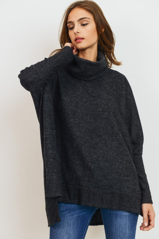 Brushed Knit Cowl Turtle Neck High Low Top