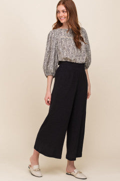 High Waisted Cropped Wide Leg Pants