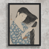 Japanese Print Japanese Prints for sale Japanese Woodblock Print Japanese Art Woman combing her hair - Hashiguchi Goyo