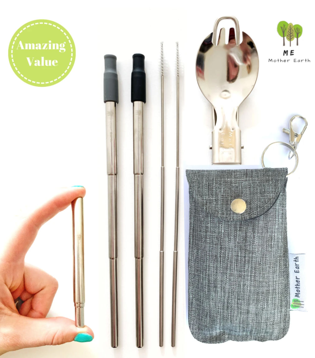 Collapsible Straw and Spork Kit