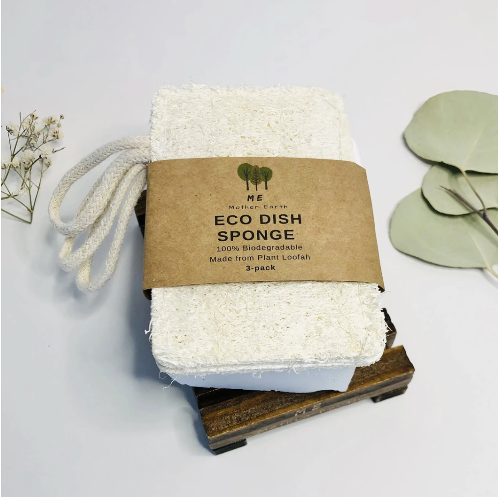 Eco Dish Sponges: Loofah Double Layer with cotton loop - 3 Pack