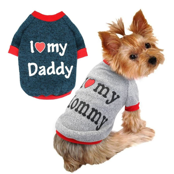 "Yorkshire qui porte un Pull pour Chien ""I love daddy/mommy"""