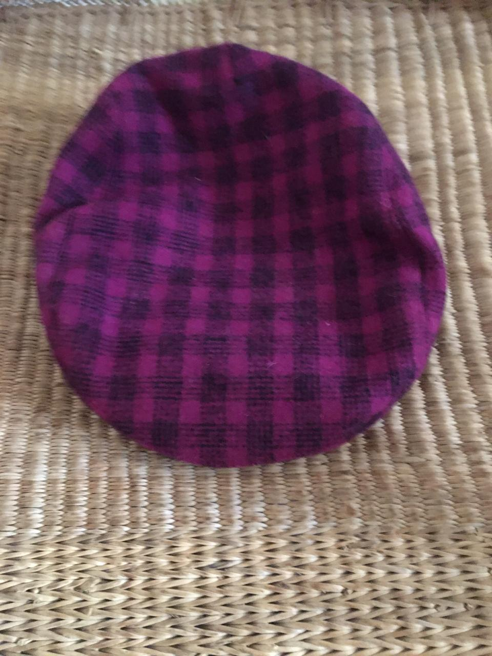 Vintage Purple & Black Gingham Print Flat top Cap