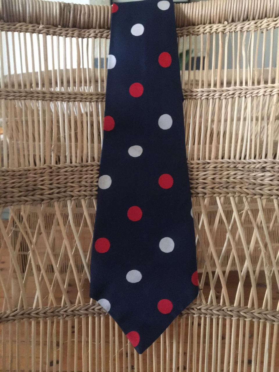 Vintage Navy, Red & White Polka Dot Necktie