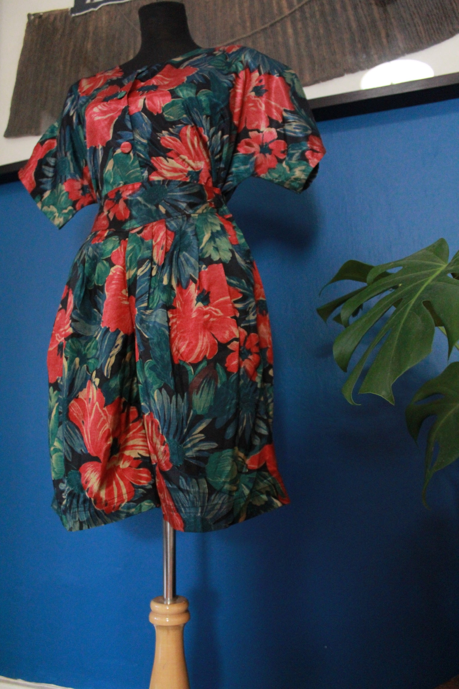 Vintage Red & Green Floral Print Two-Piece