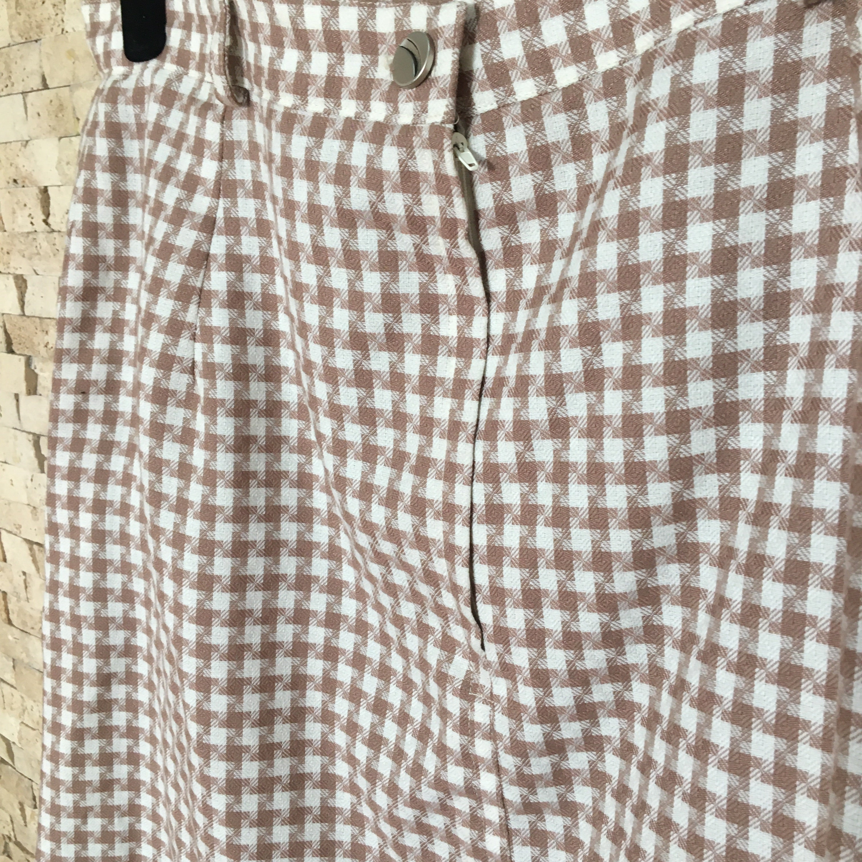 Brown & White Houndstooth Print Skirt