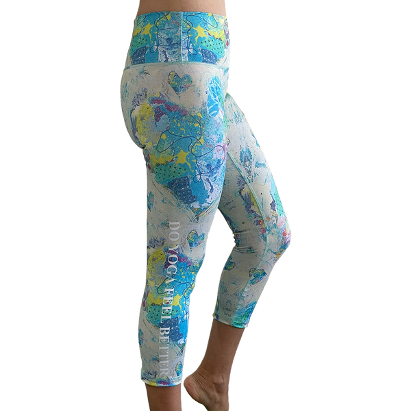 Blue Heart Graffiti Capris