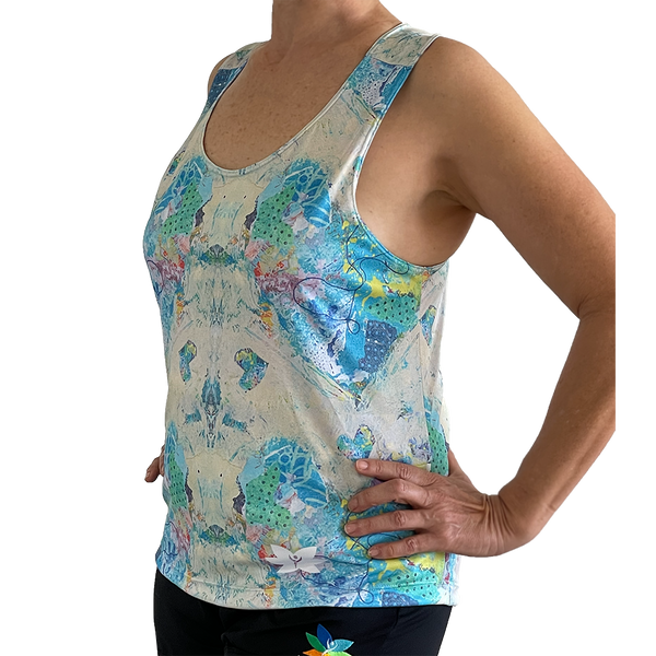 Blue Heart Graffiti Tank