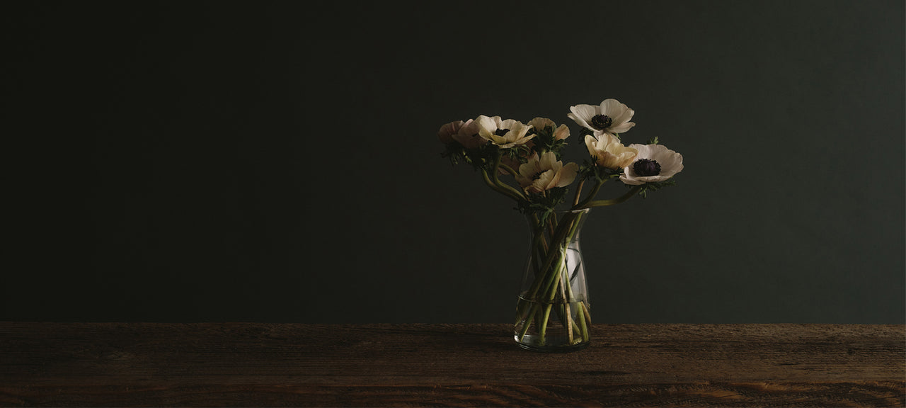 Simple floral arrangement of anemone's in a vase tied with a raw silk ribbon