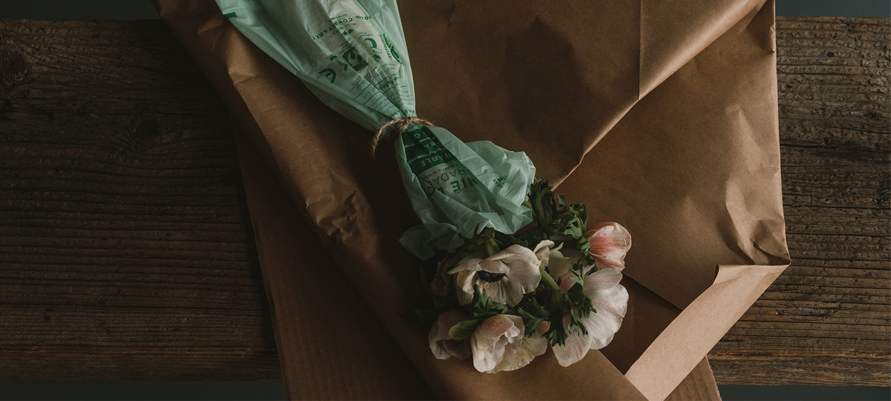 Anemone flowers wrapped in garden compostable plastic, twien and recycled paper