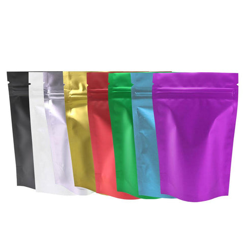 8.5x13cm Assorted Color Matte Clear Front Silver Inside Color Back Foil Mylar Stand up Zip Lock Bags With Tear Notch
