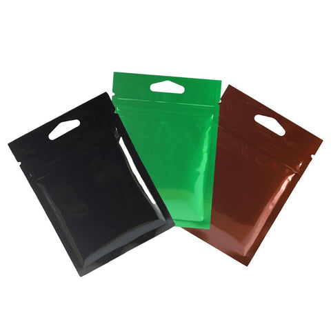 8x11cm High Quality Both Sided Glossy Color Mylar Flat Ziplock Bags w/ Triangle Hang Hole & Tear Notch