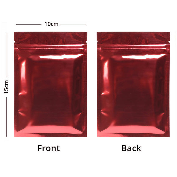 High Quality 10x15cm Both Sided Colored Glossy Mylar Foil Flat Zip Lock Bag Resealable Pouch Wholesale