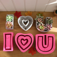 Huge letter heart shape flowerpot silicone mold