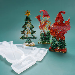 DIY crystal epoxy resin mold Christmas tree deer snowman santa silicone mold
