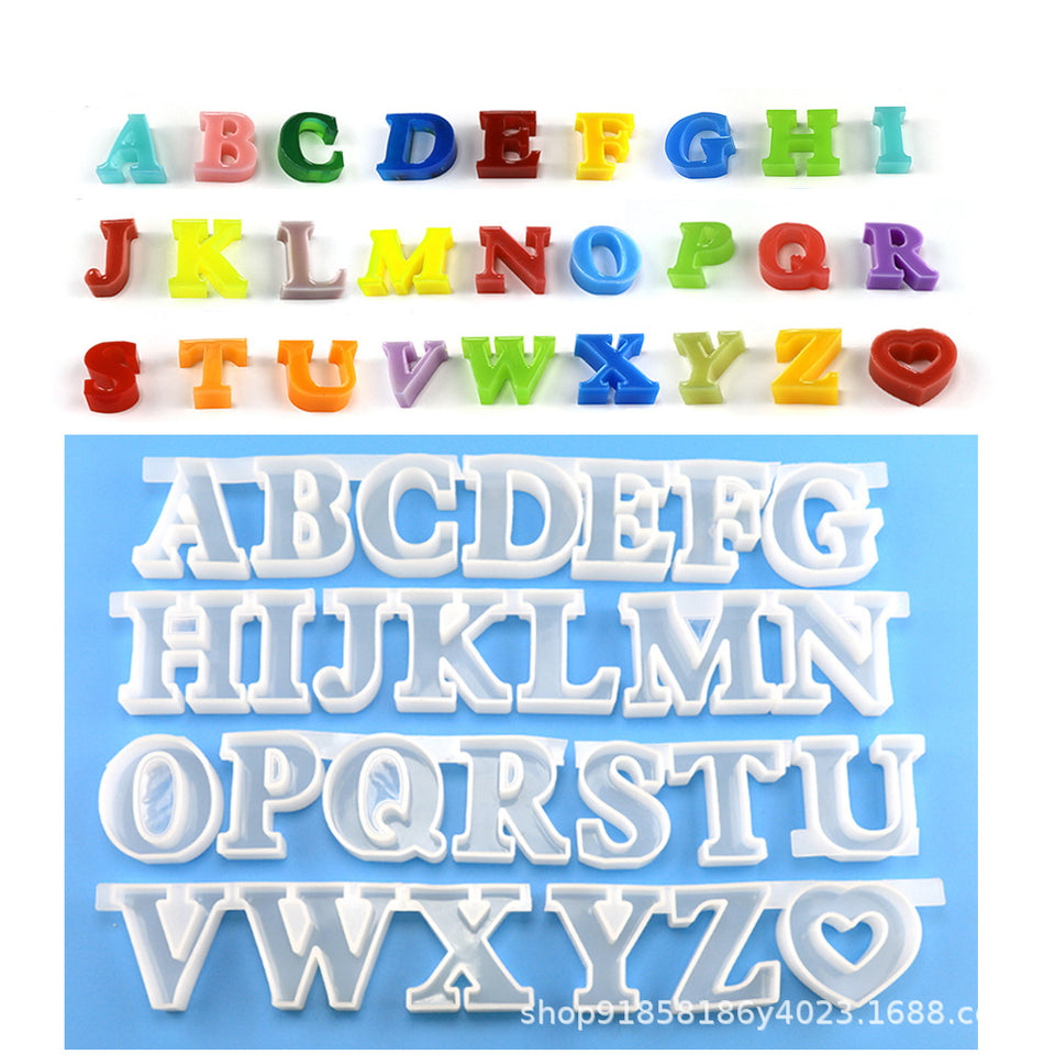 26 Large English letters Epoxy mold decoration DIY handmade crystal Epoxy Resin Mold