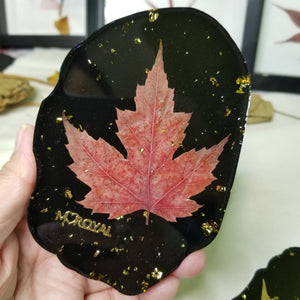 5 pcs Coaster set/resin coaster/ gold leaf flakes/dry natural pressed maple leaf /resin art / gift/ Christmas gift/for her/wedding gift