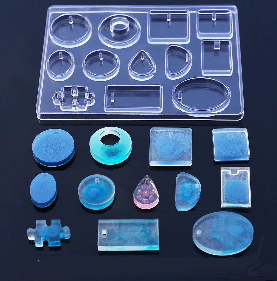 12 Designs Cabochon Silicone Resin Mold Necklace Pendant