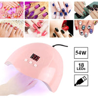 54W LED Pink Nail Dryer Lamp UV 18 Lamps For Curing UV Gel Nail Polish USB Smart Timing With LCD Digital Display Nail Art Tools