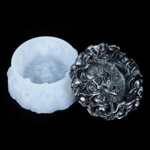DIY Crystal Epoxy Ashtray Mold New Skull Ashtray Mold High Mirror Handmade Silicone Resin Mold