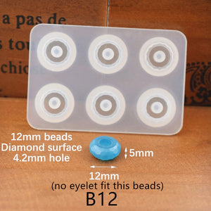 Flat ball beads with hole epoxy Resin Silicone Mould