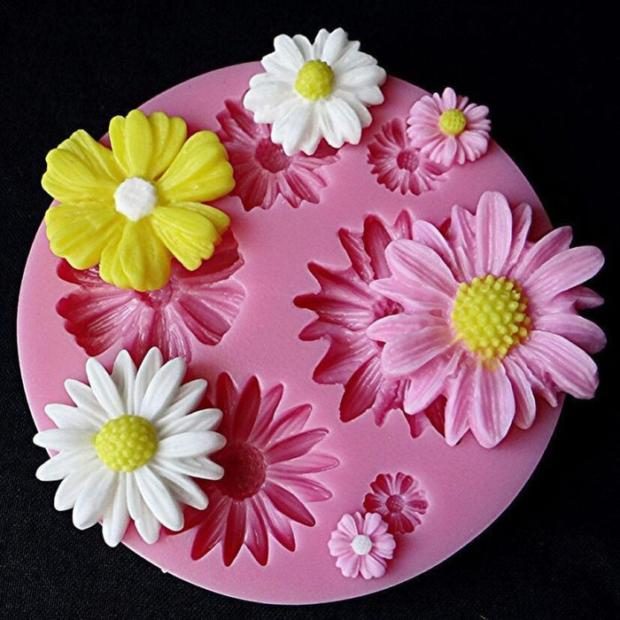 3D Sunflower Rose Flowers Silicone Cake Border Decoration Sugarcraft Cake Mold Polymer Clay Crafts DIY