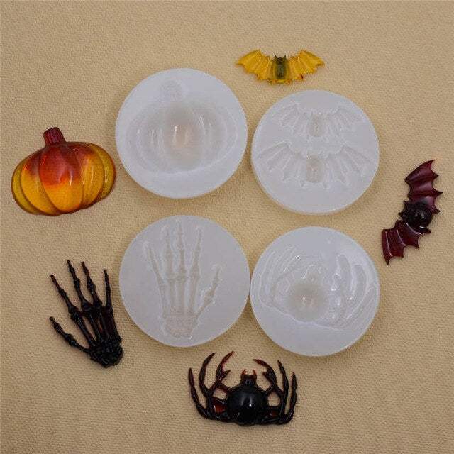 Silicone Mold for jewelry Pumpkin Bat Skeleton Hand spider Resin Silicone Mould handmade   Resin  epoxy resin molds