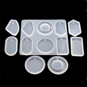 Silicone Mold for jewelry with hole big pendants Resin epoxy Silicone Mould handmade tool
