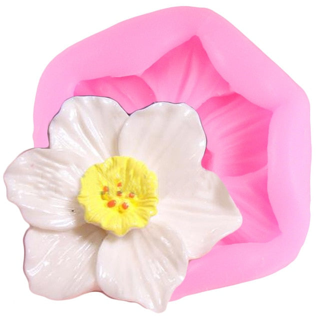 Plumeria Flower Silicone Molds Rose Cupcake Topper Fondant Mold DIY Wedding Cake Decorating Tools Candy Chocolate Gumpaste Mould